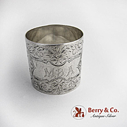 Aesthetic Engraved Napkin Ring Coin Silver 1880 Monogram MBA