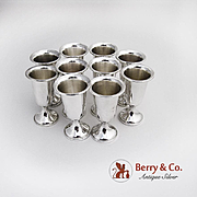 Set of 10 Cordial Cups Sterling Silver 1950