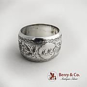 Floral Engraved napkin Ring Sterling Silver 1897