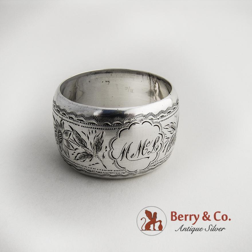 floral engraved napkin ring sterling silver 1897 from