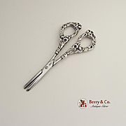 Floral Handle Grape Shears Sterling Silver Watson 1910