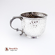 Shaving Mug Sterling Silver Hammered Honey Comb Peened 1890