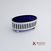 Oval Master Salt Dish Sterling Silver Cobalt Blue Glass Liner 1930