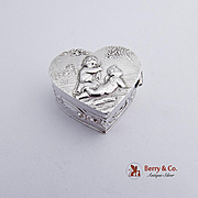 Ornate Heart Form Pill Box 800 Silver 1890