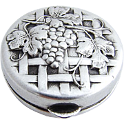 Ornate Grape and Vine Pill Box Sterling Silver 1900