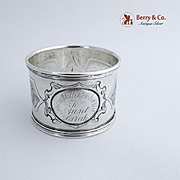 Floral Chased Napkin Ring Coin Silver 1880