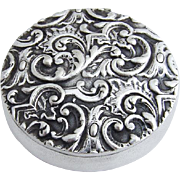 Ornate Repousse Pill Box Sterling Silver 1900