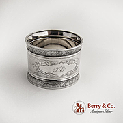 Engine Turned Napkin Ring Coin Silver 1880 Monogram TE