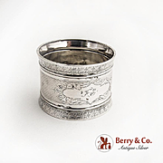 Engine Turned Napkin Ring Coin Silver 1880 Monogram FE