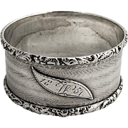 Engine Turned Napkin Ring Coin Silver Monogram W 1857