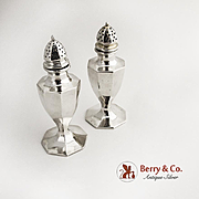 Octagonal Salt and Pepper Shakers Sterling Silver 1940