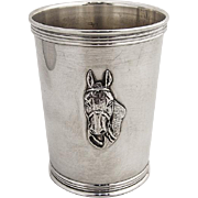 Vintage Mint Julep Cup Horse Head Sterling Silver William Trees