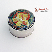 Yellow Orchid Enamel Box Sterling Silver Hand Made