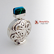 Perfume Bottle Sterling Silver Malachite Other Stones Mexico 1980