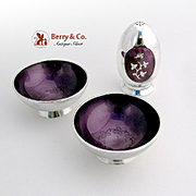 Vintage Pair of Salt Dishes and Shaker Plum Violet Guilloche Enamel Sterling Silver Meka Denmark 1950