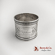 Engine Turned Napkin Ring Sterling Silver 1890 Monogram Stephen