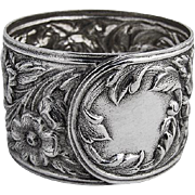Floral Repousse Napkin Ring Sterling Silver S Kirk and Son