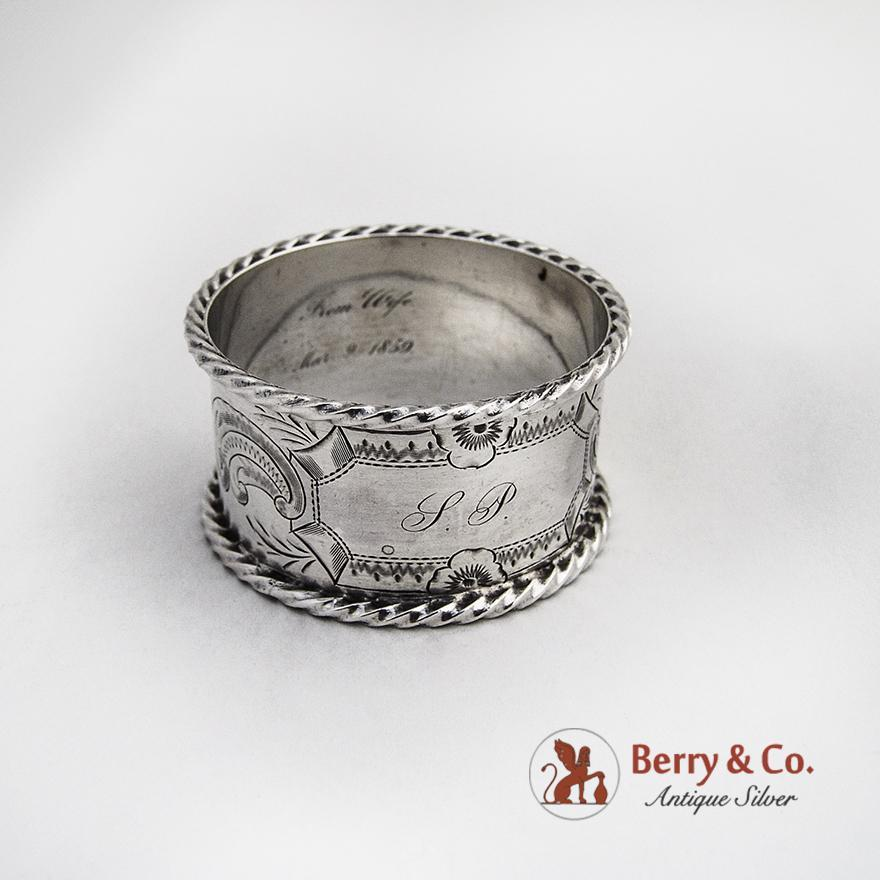coin silver napkin ring twist borders 1859 from berrycom