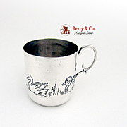 Embossed Swan Baby Cup Sterling Silver Mexico 1950