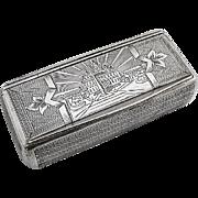 Engine Turned Snuff Box Austrian 875 Silver 1860