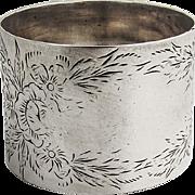 Floral Engraved Napkin Ring Sterling Silver 1900