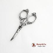 Ornate Scissors Curved Blades Sterling Silver 1900