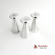 Set of Three Salt and Pepper Shakers Conical Sterling Silver Gorham