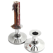 Empire Style Pair of Candlesticks Swedish 830 Standard Silver