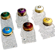 Colorful Guilloche Enamel Set of 6 Salt Shakers Norway 1930
