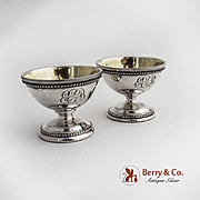 Pair of Pedestal Open Salt Dishes Coin Silver 1880