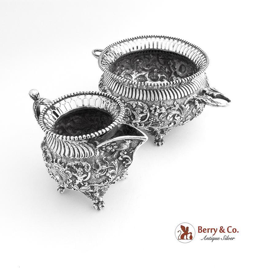 Ornate Creamer and Sugar Bowl Cherub and Scroll Decoration Dutch 830 Silver 1890