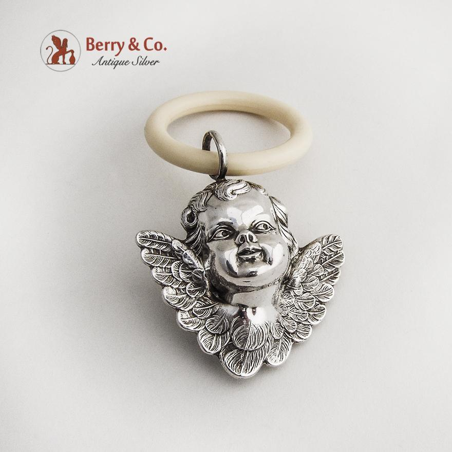 cherub baby rattle teething ring sterling silver from