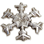 Vintage Snowflake Christmas Ornament Sterling Silver Gorham 1977