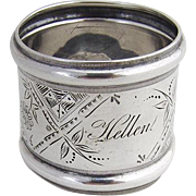 Aesthetic Napkin Ring Coin Silver 1890 Wood and Hughes Monogrammed Hellen