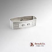 Rectangular Napkin Ring Sterling Silver Alvin Silversmiths Monogram CC