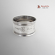 Engine Turned Napkin Ring Coin Silver 1880 Monogram Lucia