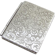 Ornate Double Picture Frame Portable Sterling Silver Floral and Scroll