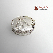 Ornate Oval Pill Box Flying Cherubs Sterling Silver Germany
