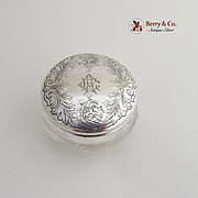 Small Dresser Jar Sterling Silver Acid Etched Designs Cut Glass Gorham Silversmiths