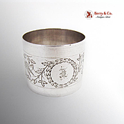 Engraved Bird Foliate Wreath Napkin Ring Coin Silver 1870