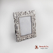 Vintage Decorated Rectangular Picture Frame Sterling Silver Wood