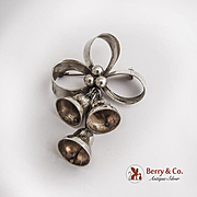 Mexican Large Mistletoe Bells Bow Pin Sterling Silver