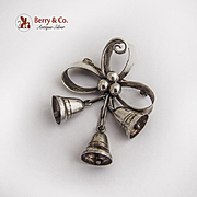 Mexican Small Mistletoe Bells Bow Pin Sterling Silver
