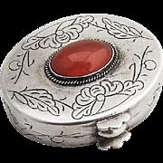 Vintage Engraved Floral Pill Box Jasper Sterling Silver