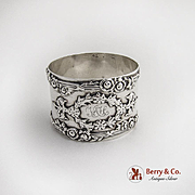 American Sterling Silver Renaissance Revival Applied Ribbon Wreath Floral Napkin Ring 1890