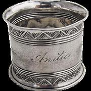 Gorham Aesthetic Engraved Napkin Ring 1421 Sterling Silver 1860