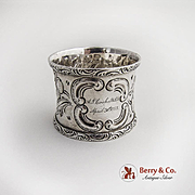 Floral Repousse Large Applied Scroll Border Napkin Ring Coin Silver