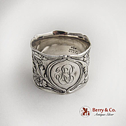 Art Nouveau Poppy Napkin Ring Gorham Sterling Silver 1900