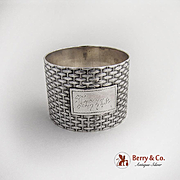 Wood And Hughes Basket Weave Napkin Ring Lizzie Coin Silver 1870