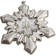 Gorham Millennium Snowflake 2001 Christmas Ornament Sterling Silver Crystal